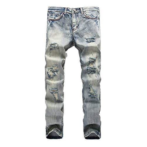 Strappati Media In Adelina Jeans Denim Dritti Pantaloni Abbigliamento Casual Distrutti Uomo Bluegrey Vita A Da xqf7UC