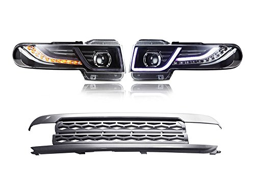 MOSTPLUS Led Halo Projector Headlights W/Grille lamp for Toyota FJ Cruiser 2007-2015