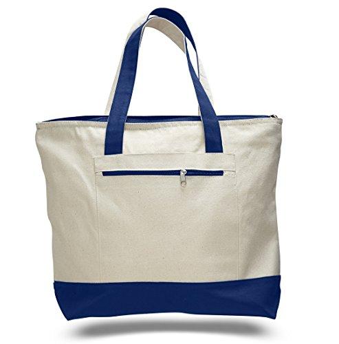 18 Stylish Canvas Zippered Tote Bag w/Zipper Front Pocket Pool Beach Shopping Travel Tote Bag Eco-Friendly (1, Royal)