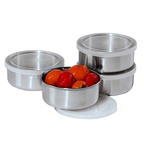 Oggi Prep Stainless Steel Prep Bowls with PP Lids 10-Oz Set of 4