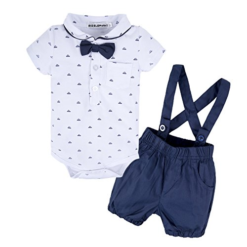 BIG ELEPHANT Baby Boys 2 Pieces Short Sleeve Romper Suspender Shorts Set T49-Dark Blue-60 6-9 Months