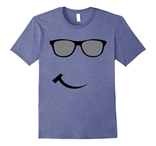 Mens Fun Happy Sunglasses Smile Face Tee Shirt Easy Costume XL Heather - Glasses Happy Face With