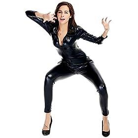 - 41l 2BeKqI0lL - Ensnovo Womens Shiny Metallic Lycra Spandex Shirt Collar Zipper Catsuits