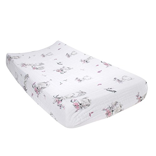Floral Bunny - Bebe au Lait Classic Muslin Changing Pad Cover, Bunny Tails