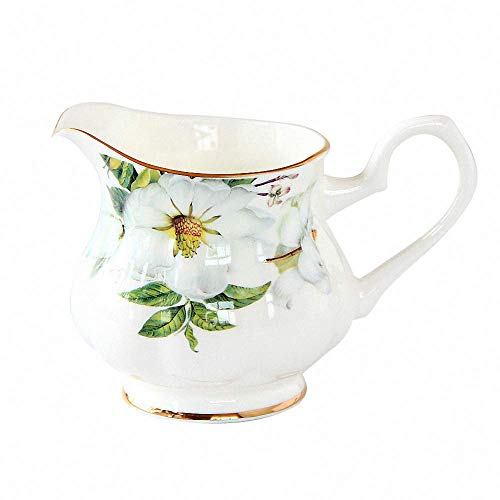 - Country Style Flower Pattern Ceramic Creamer Coffee Milk Tea Pitcher Porcelain Honey Jug Sauce Pitcher Jug Vase Syrup Dressing Server Mug Cup Creamer with Handle Home Decor,9 Oz