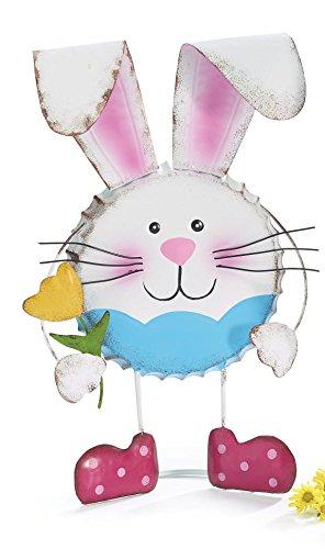 Colorful Tin Bottlecap Easter Bunny Figures - Tabletop Spring Decoration (Boy)