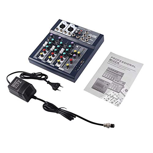 F-4 4 Channel EU Plug 230V Live Mixing Studio Audio Sound Console Network Anchor Portable Mixing Device Vocal Effect Processor Silverfer