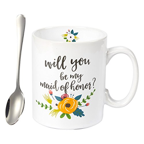Ceramic Coffee Mug - 16-Ounce Large Novelty Stoneware White Tea Cup - Will You Be My Maid of Honor with Stirring Spoon- Wedding, Engagement, Birthday, Bachelorette Gift