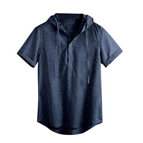 Allywit-Mens Vintage Hooded Sport Linen Solid Short Sleeve Retro T Shirts Tops Hawaiian Blouse Navy