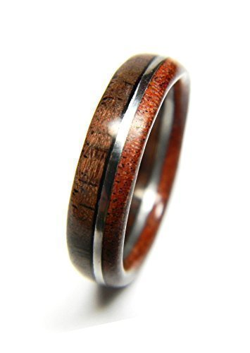 Wood Wedding Band by Saxon Woodworks | Walnut and Sandalwood Wedding Band | Wood Wedding Ring
