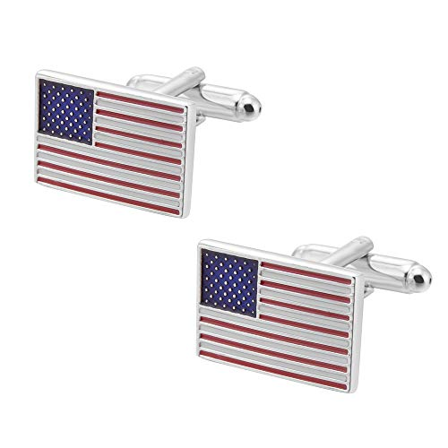 Jialan Jewelry American Flag Cufflinks USA Flag Cuff Links Men's Accessories American Flag Cufflinks for Men Business Wedding (Silver)