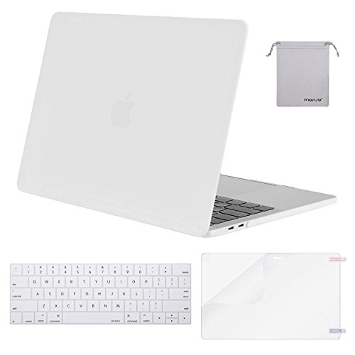 MOSISO MacBook Pro 13 Case 2018 2017 2016 Release A1989/A1706/A1708, Plastic Hard Shell & Keyboard Cover & Screen Protector & Storage Bag Compatible Newest Mac Pro 13 Inch, White