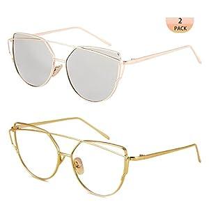 WISH CLUB Women Cat Eye Fashion Sunglasses Mirrored Reflective Flat Lenses Metal Frame UV 400 Sun Glasses for Girls Lightwight Eyewear (silver2)