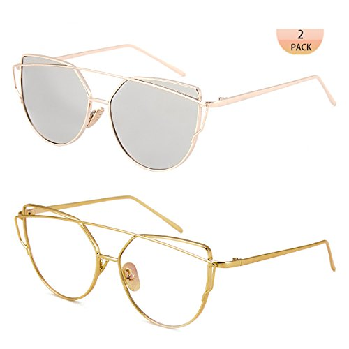 WISH CLUB Women Cat Eye Fashion Sunglasses Mirrored Reflective Flat Lenses Metal Frame UV 400 Sun Glasses for Girls Lightwight Eyewear - Sunglasses Clear Cheap