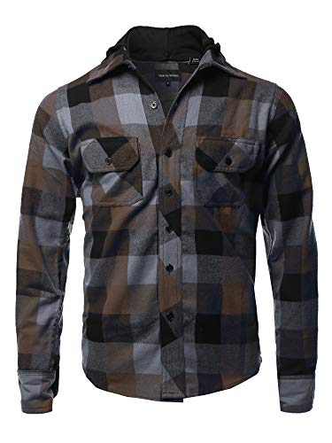 Flannel Woven Long Sleeves Detachable Hood Button Down Shirt Cafe S ()
