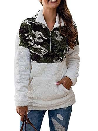 Uni Clau Women's Camo Long Sleeve 1/4 Zipper Sherpa Fuzzy Fleece Pullover Outwear Coat Sweatshirt with Pocket White
