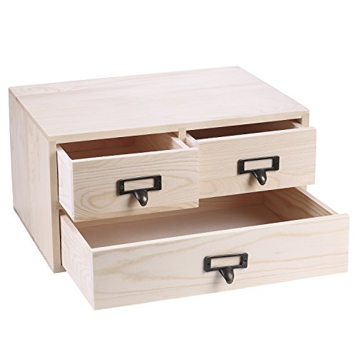 (MyGift Small Natural Wood Office Storage Cabinet/Jewelry Organizer with 3 Drawers)