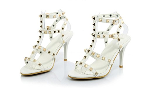 Buckle Women with 35 Banquet High Quality Fine Party Fashion yu High Lh White Heel Sandals Rivet Sandals Shoes qCSzw5R1