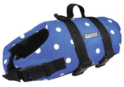 Seachoice 86260 Adjustable Polyethylene Dog Life Vest, with Grab Handle, Blue Polka Dot, Size XXS, up to 6 ()