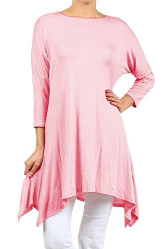 2LUV Plus Women's Dolman Sleeve Asymmetric Knit Tunic Dress Pink XL (D235)