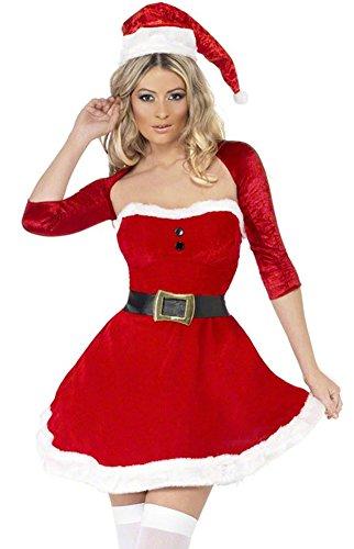 Santas Christmas Santas Inspiration Costumes Helper (SK Studio Women's 3 Piece Inspiration Christmas Hat Dress Short Coat)