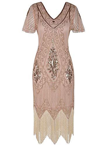 xxl Gatsby Manica Paillettes Donna Abito 1920s Dress Charleston Da Con Cocktail Art Deco fq76q