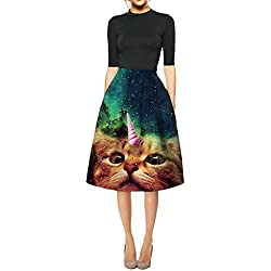 Ninimour Womens Galaxy Cat Knee High Pleated Princess Skirt(B-Cat,Medium)
