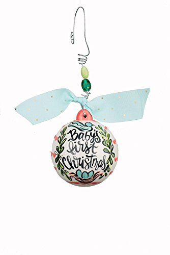 Glory Haus 4 x 4 Baby's First Christmas Pink Ornament, Multicolor