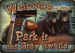 Rivers Edge Products Park It & Stay Awhile Tin Sign River's Edge Products 2257