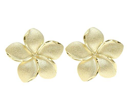 14K solid yellow gold Hawaiian 20mm diamond cut plumeria flower stud (Plumeria Flower Diamond Earrings)