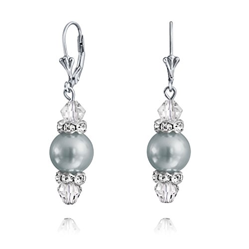Crystal Drop Leverback Pale Grey Simulated Pearl Dangle Earrings For Women For Teen 925 Sterling Silver