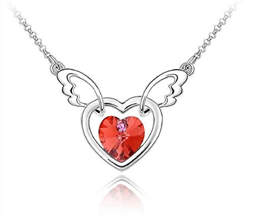 [Yuriao Jewelry Elegant Fashion Soul Angel Crystal Pandent Necklace£¨red£] (Dog Ear Costume Template)