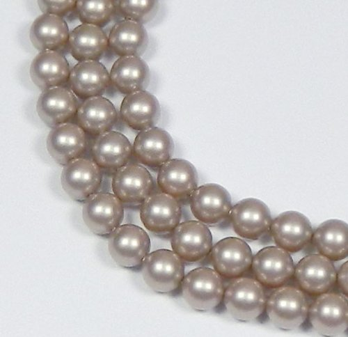 (100 Swarovski Crystal Pearls 6mm Round Beads (5810). 24 Inch Loose Strand (Powder Almond))