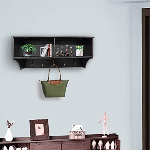 Entryway Cubbie Shelf Wooden Entryway Hanging Wall Shelf with Hooks,Floating Wall-Mounted Hat and Coat Rack,Espresso ()