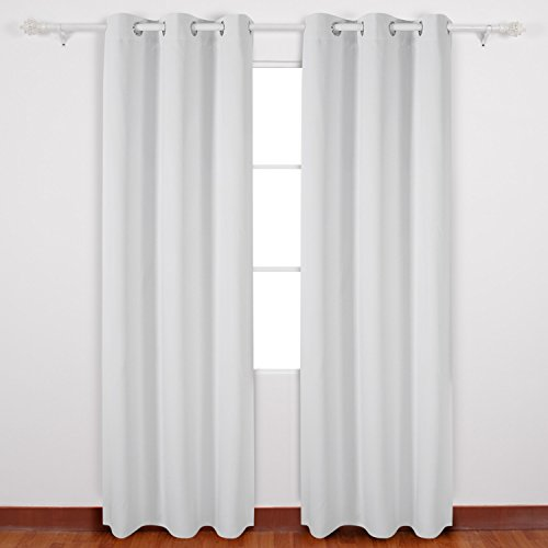 Deconovo Solid Color Thermal Insulated Blackout Curtains Grommet Curtains With Silver Coating