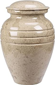 UrnConcern Cremation Urn Polished Cream Wash Marble 11 Tall Better Than Cultured Marble It s Real Marble