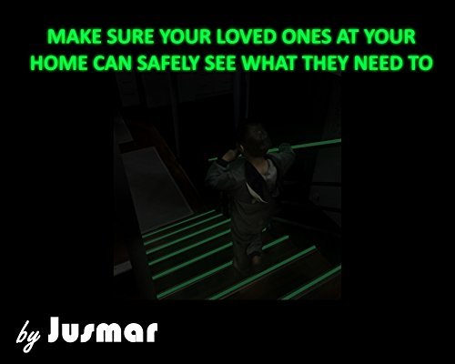 Glow in The Dark Tape for Stairs, Home, Safety   2 Roll Pack of Luminous Glow Tape   Glows Several Hours and Adheres to Most Surfaces   Professional Self-Adhesive Glow Stick Tape by Jusmar USA (Image #1)