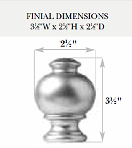 Button Wood Finial in White finish for a 1-3/8'' dowel rod - 2/pack by Kirsch (Image #1)