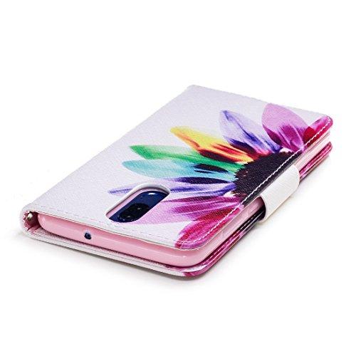 Hozor aérosol Lite cuir portefeuille PU étui Multicolored peint en Huawei avec conception fente Flip avec d'impression protection en carte 10 de cas flowers pour support magnétique Mate fermeture r8AqOr