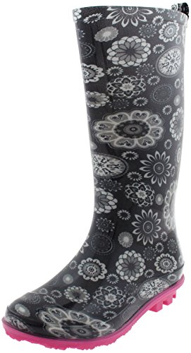 Lace Printed Capelli Jelly Black Rain Girls Boots Emoticons York New xzvrzI