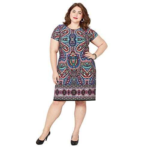 Avenue Women's Medallion Print Sheath Dress, 18/20 Multi Color