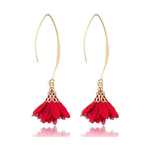 FUTIMELY Red Long Flower Dangle Ear Hook Earrings for Women,3D Lace Fabric Flower Drop Earrings for Teenage Girls Christmas Gifts (Red)