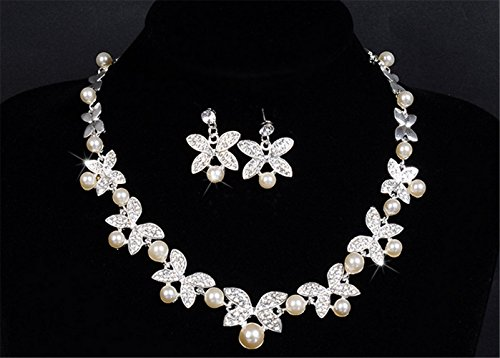 Asian Set Necklace (P.phoebus Austrian Crystal CZ Simulated Pearl Victorian Style Necklace Earrings Wedding Jewelry Set)