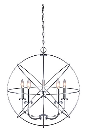 CANARM ICH282B05CH25 Sumerside 5 Light Chandelier, 25.2 x 25.2 x 11.81 , Chrome