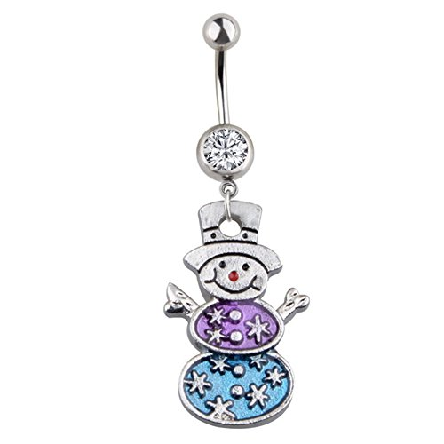 Afco Christmas Navel Ring Belly Button Snowman Snowflake Pendant Women Girl Body Piercing Jewel