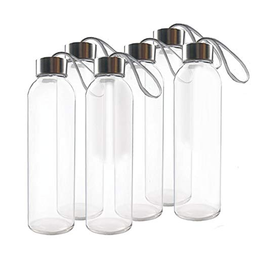 TeiKis (6-Pack Glass Water Bottles 18oz with Stainless Steel Cap