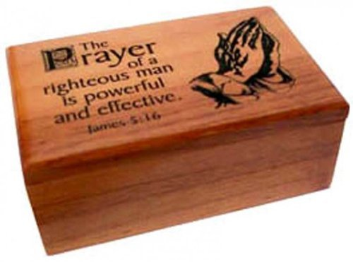 Shalom Christian Wood The Prayer Of A Righteous Man Is Powerful And Effective Box Gift 9.5cm by Shalom