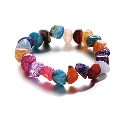 (Summer Beach Random Color Nature Stone Chakra Bracelet Rainbow Lucky Bead Reiki Strand Bracelet For Girls and)