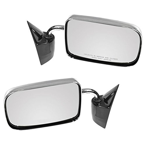 Dodge Dakota Pickup Manual - Chrome Manual Side Mirrors Left Right Pair Set for 87-94 Dakota Pickup Truck