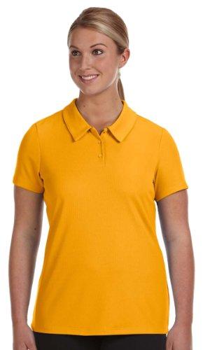 (Alo Ladies Performance Three-Button Mesh Polo Shirt, SPORT ATH GOLD, X-Large)